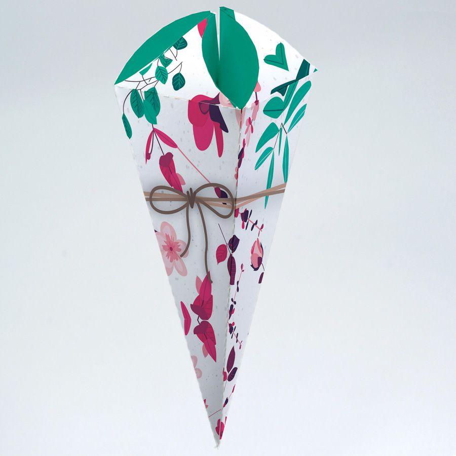 Caixa para Cone Trufado Presente Floral c/100 un