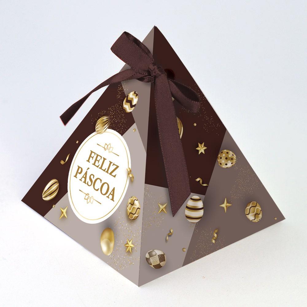 Caixa Pirâmide - Páscoa Ouro C/10 un