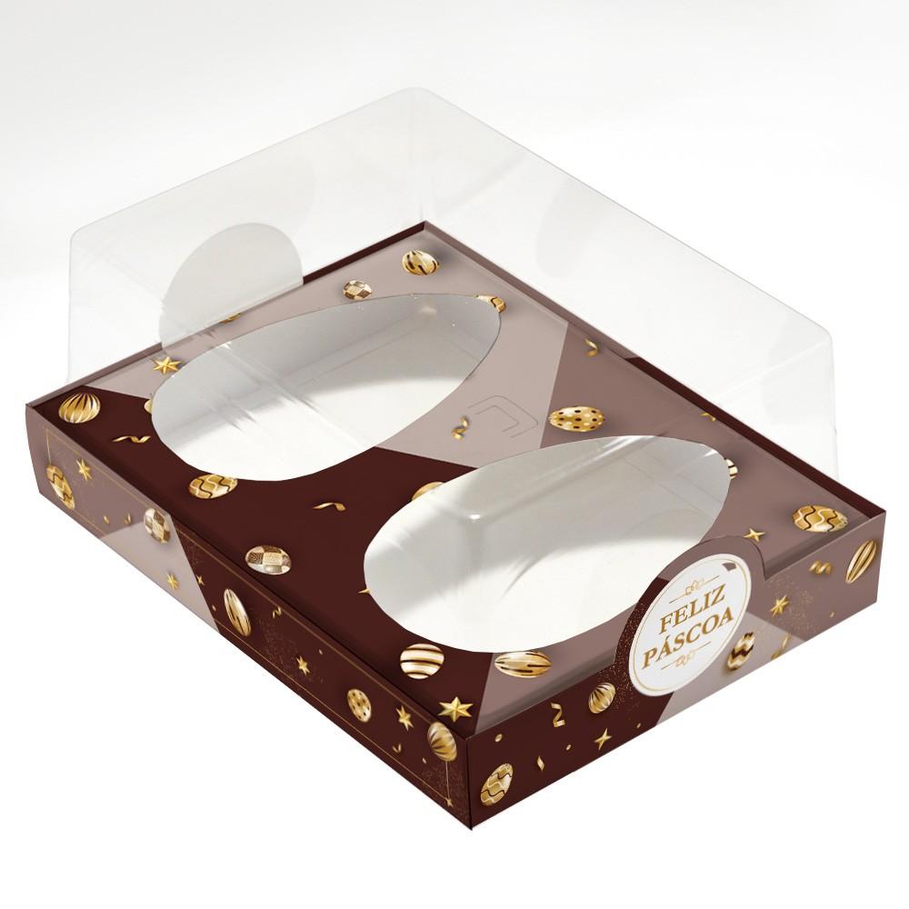 Caixa Premium DUPLO para Ovo de Colher - Páscoa Ouro C/ 10 un