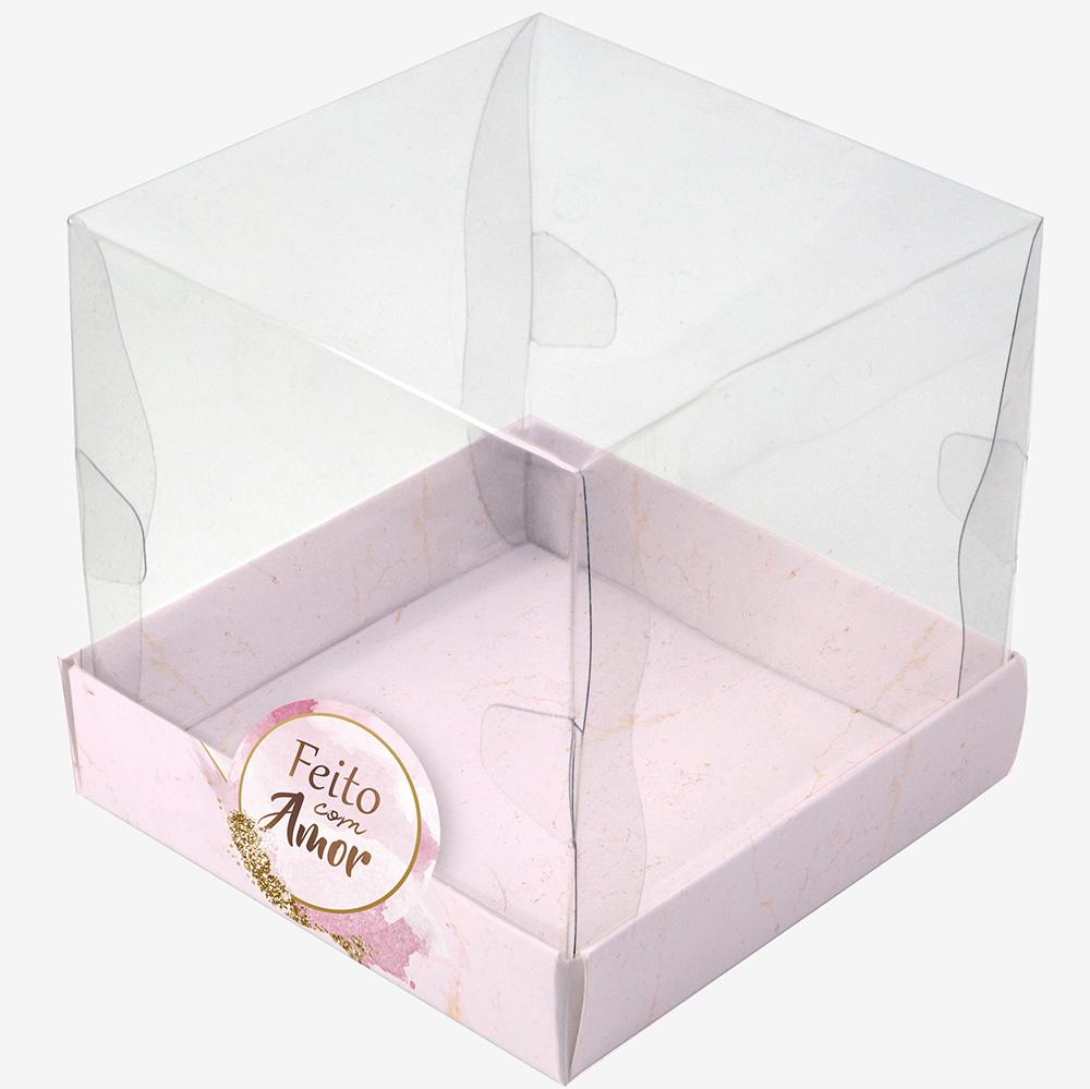 Caixa Premium Mini Bolo - Mármore Rose c/ 10 un