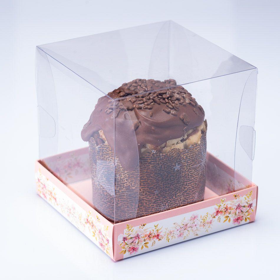 Caixa Premium Mini Panetone / Mini Bolo - Floral Rosé c/10un