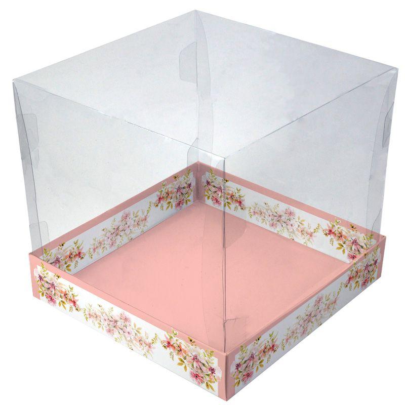 Caixa Premium para Panetone 500g/ Bolo  - Floral Rosa c/5un