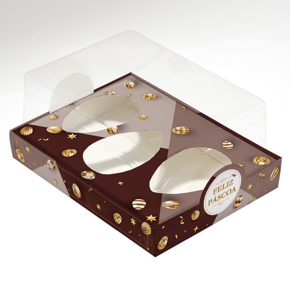 Caixa Premium TRIO para Ovo de Colher - Páscoa Ouro C/ 10un