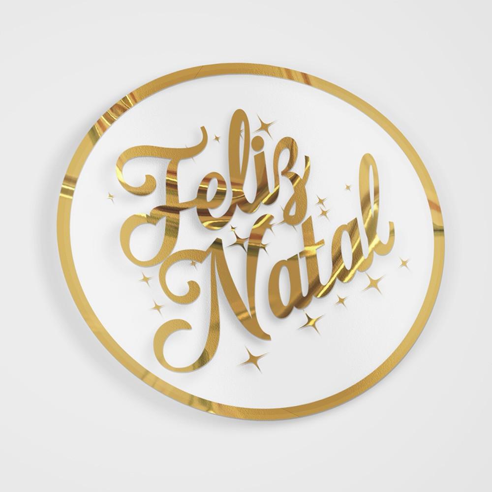 Etiqueta Adesiva Hot Stamp Feliz Natal 5x5 c/ 100un