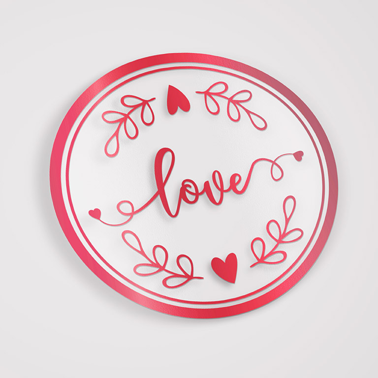 Etiqueta Adesiva Hot Stamp - Mod Love 01 VERMELHO - 5x5 c/ 100un