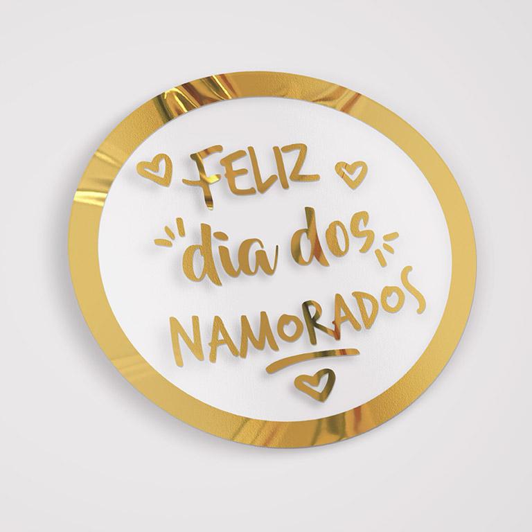 Etiqueta Adesiva Hot Stamp - Namorados MOD 01 -DOURADO - 5x5 c/ 100un