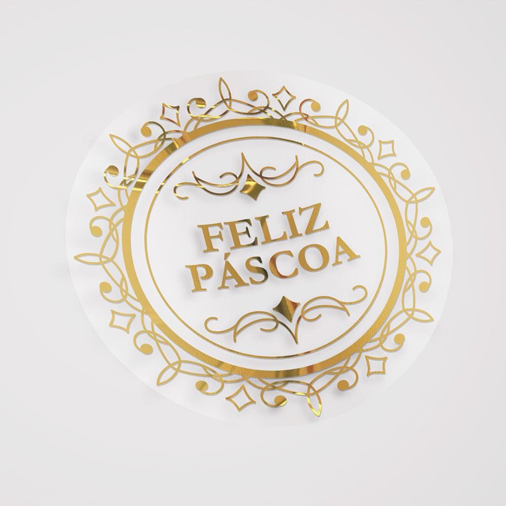 Etiqueta Adesiva Hot Stamp - Páscoa Imperial - 5x5 c/ 100un