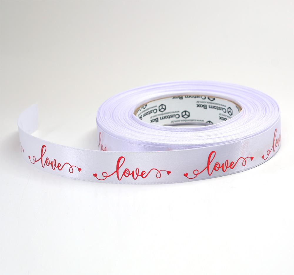 Fita Cetim Premium Branca - Love Mod 01 - 22 mm - C/ 50m