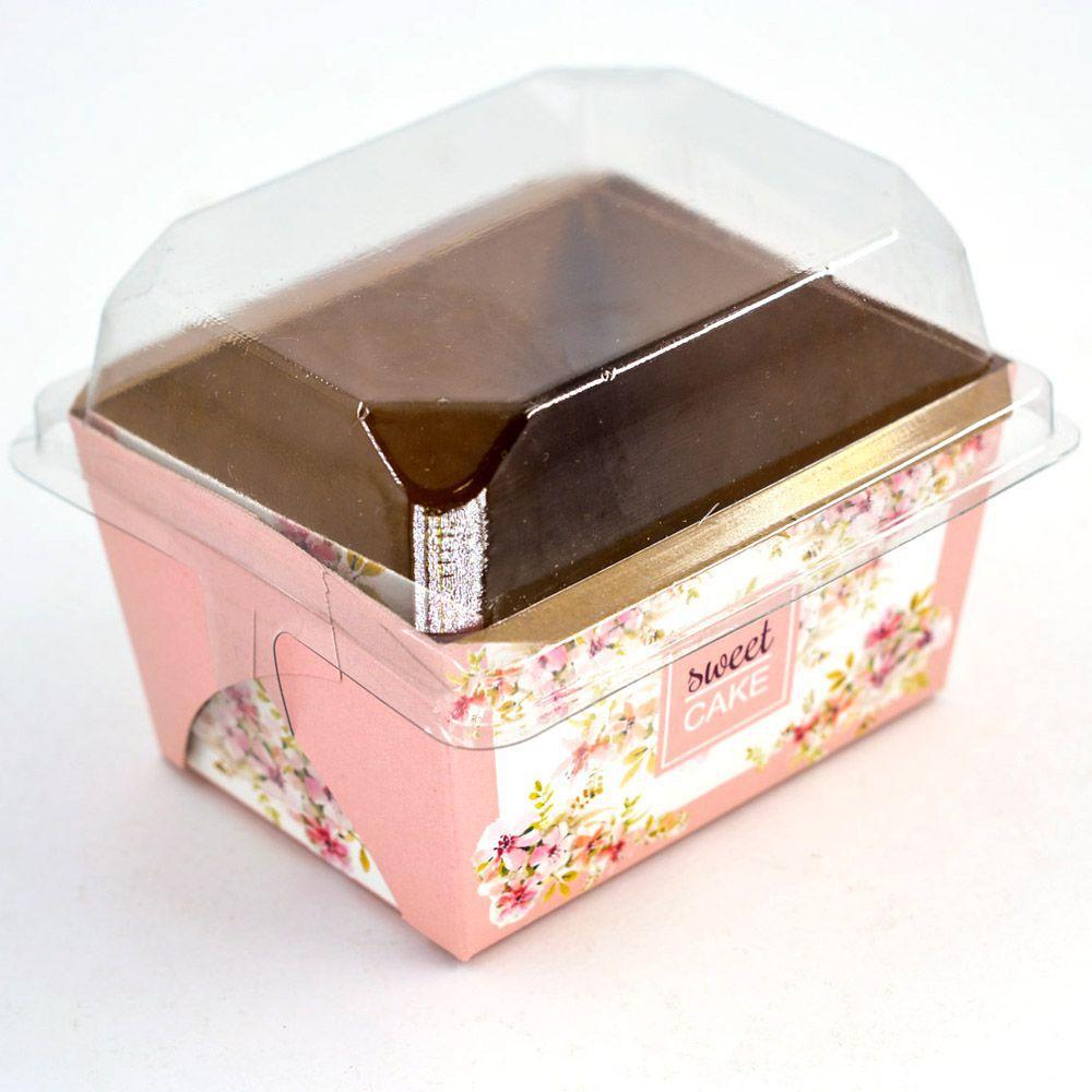Forma para Bolo Inglês P - C/ Tampa - Mod Floral Rosé c/10 un