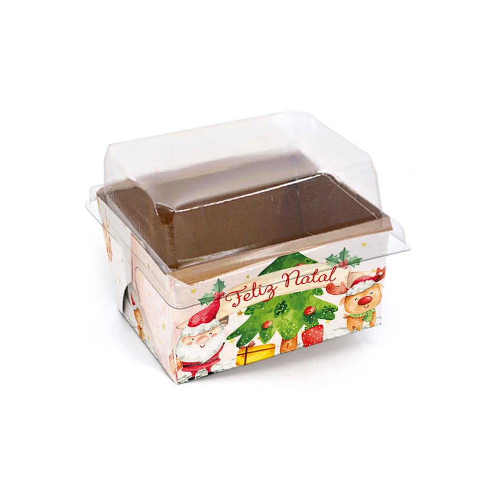 Forma para bolo inglês P c/ tampa - Natal Alegre c/ 100 un