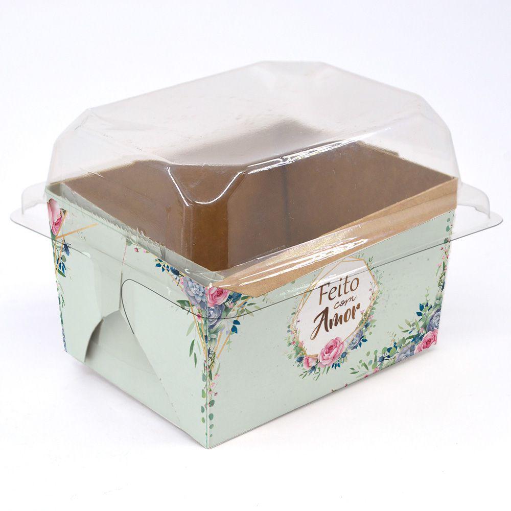 Forma para bolo inglês P Floral Verde c/ 100 un