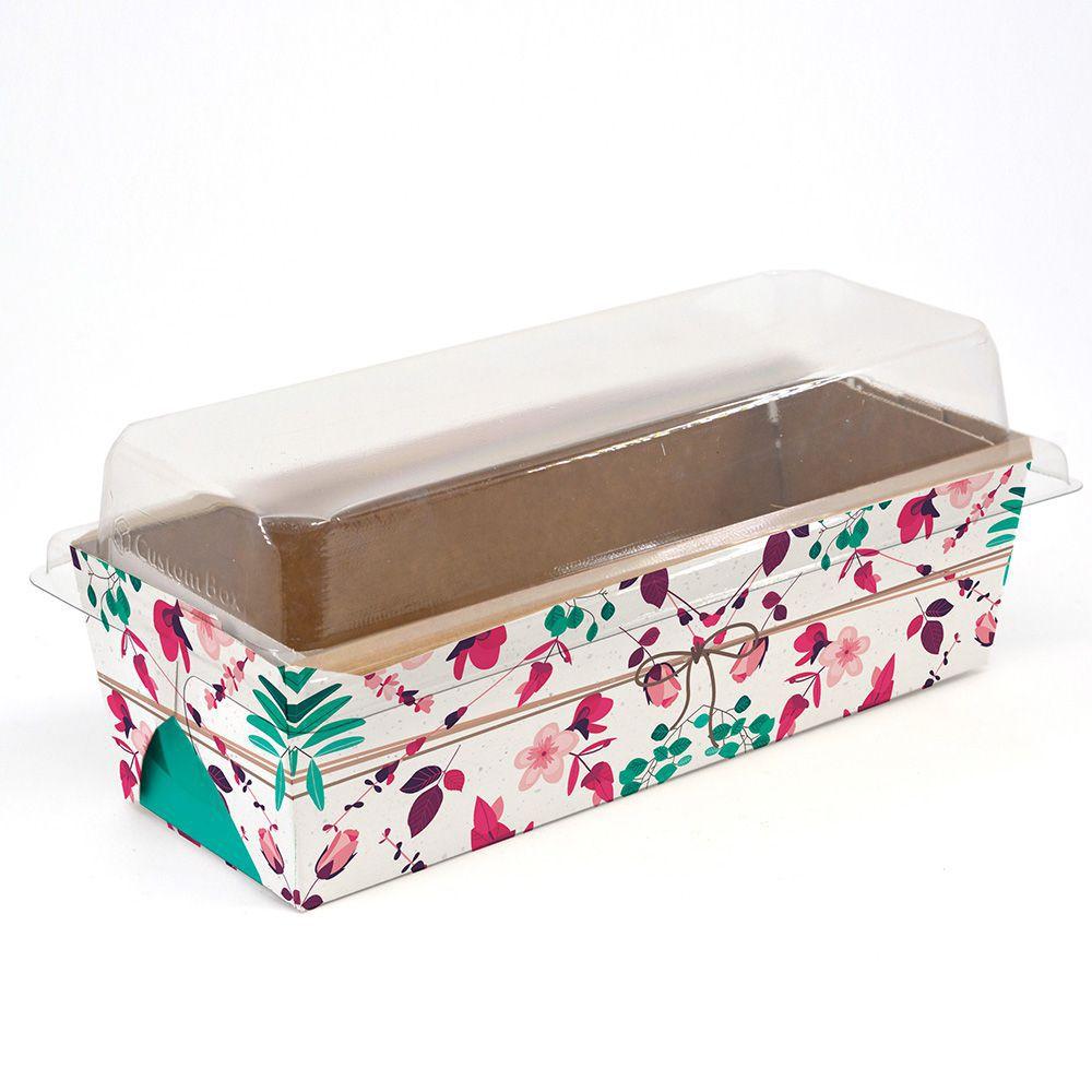 Forma para bolo inglês G C/ Tampa - Mod. Presente Floral c/ 100 un