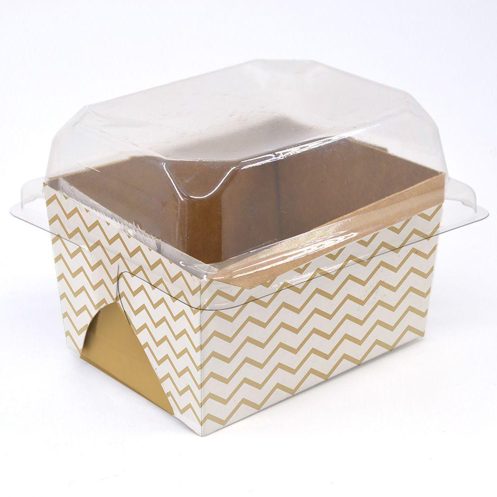 Forma para bolo inglês P Chevron Dourado c/ 100 un