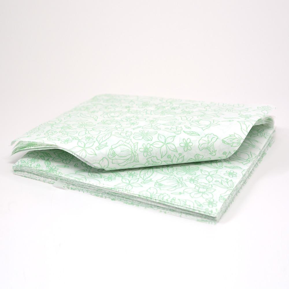 Papel Duofresh® para Embrulho G - Floral Verde C/100 un