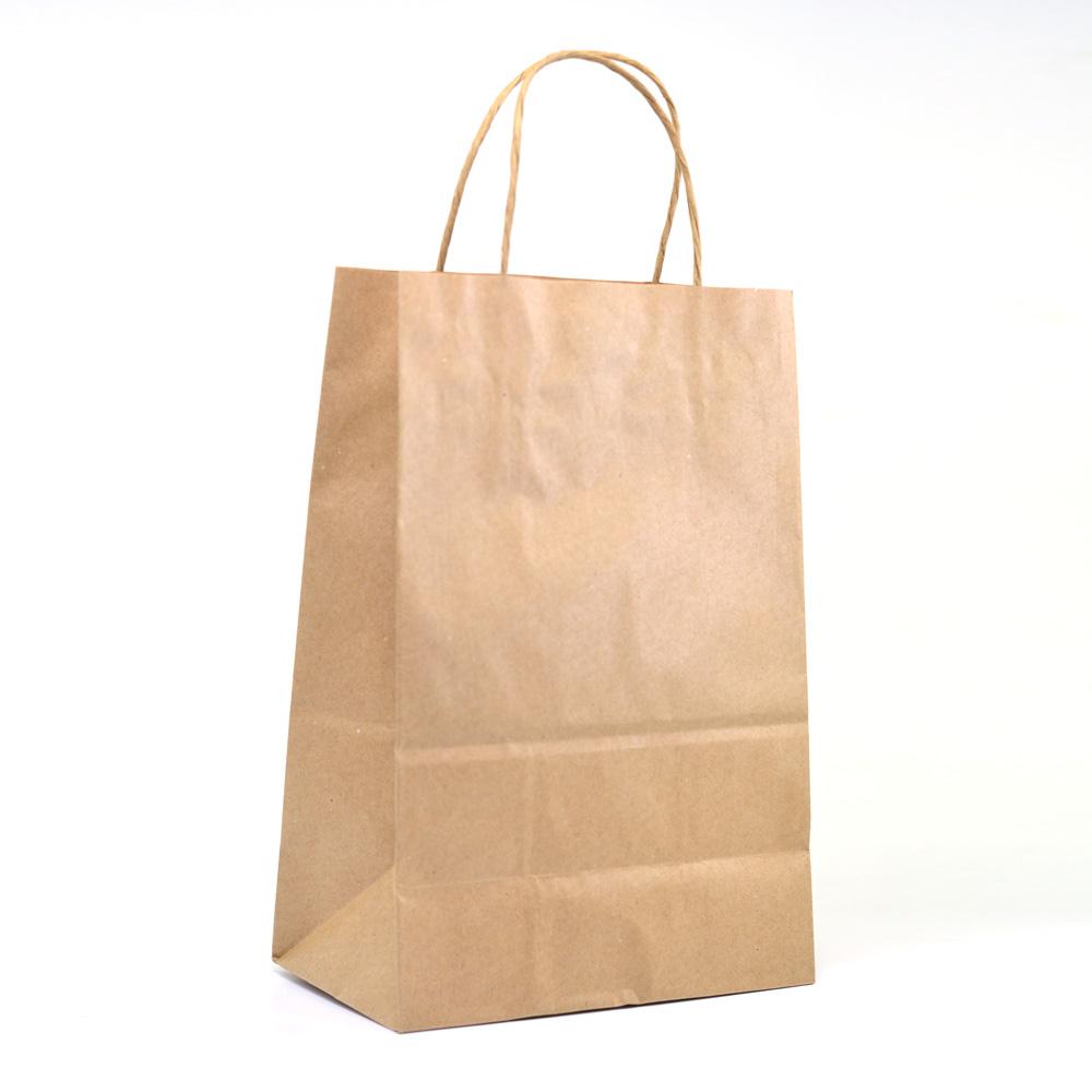 Sacola de papel Kraft M com alça c/ 10 un