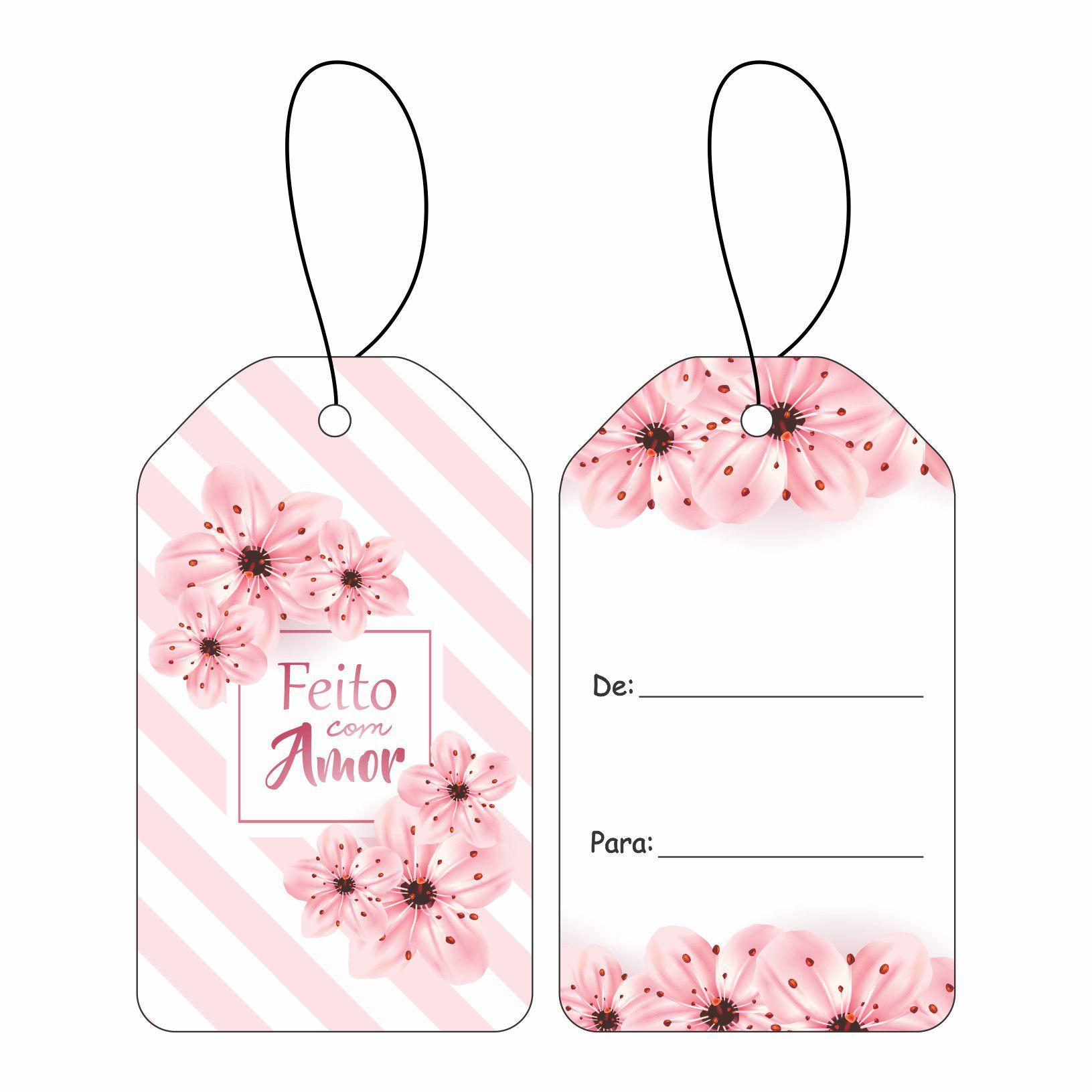 Tag - Floral Listrado C/10 UN