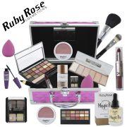 Maleta de Maquiagem Com espelho + Kit Ruby Rose + Sérum + Demaquilante - BZ57
