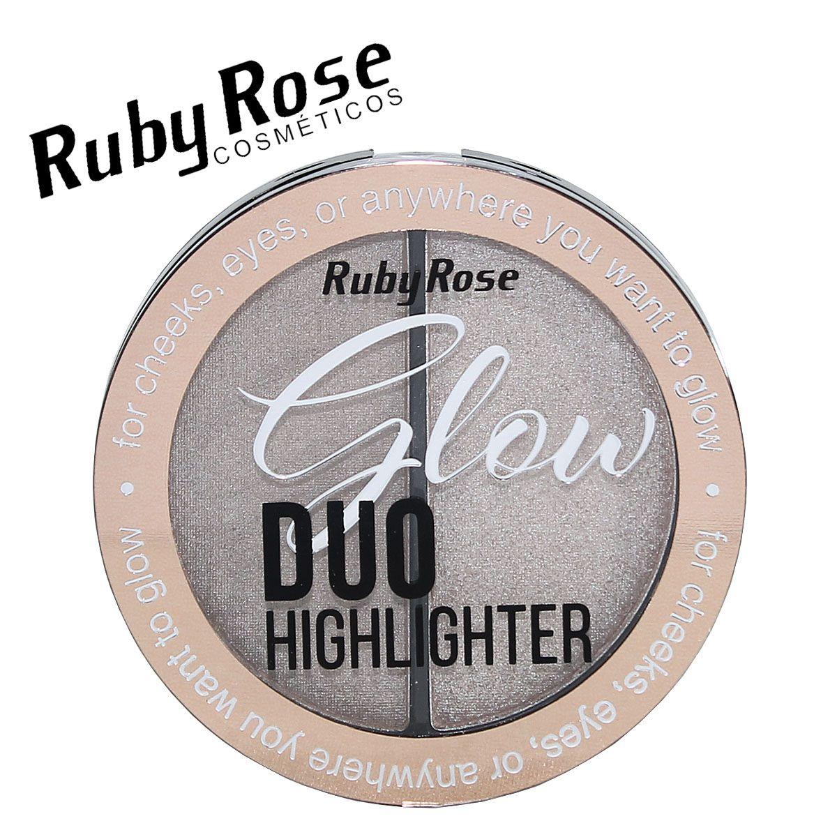 Duo Iluminador Highlighter Glow Ruby Rose  cor 1 Golden Pink HB-7522