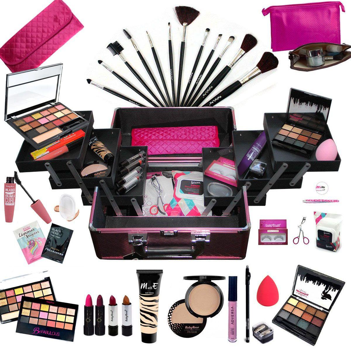 Maleta Com Maquiagem Completa Profissional Ruby Rose + Necessaire - BZ02