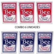 Baralho Bee Standard Vermelho e Azul  (Combo 6 unidades)