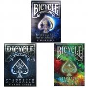 Baralho Bicycle Stargazer, Nebula, e New Moon (kit com 3 baralhos)