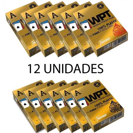 Baralho Fournier WPT Gold Edition 100% Plástico Azul E Vermelho (Kit com 12 baralhos)