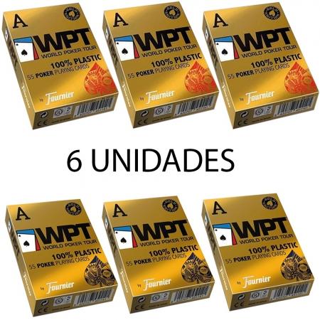 Baralho Fournier WPT Gold Edition 100% Plástico Azul E Vermelho (Kit com 6 baralhos)