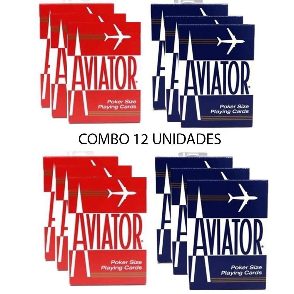 Baralho Aviator Standard Vermelho e Azul (Combo 12 decks)