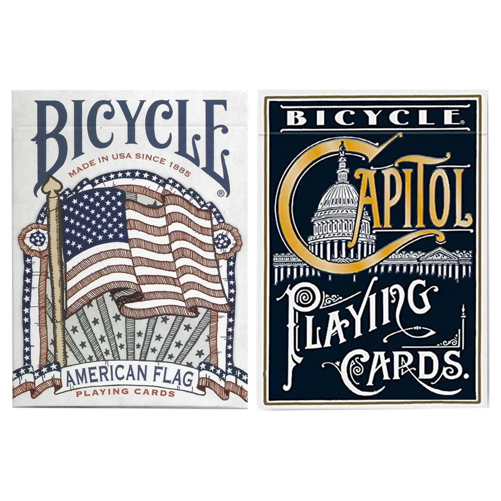 Baralho Bicycle American Flag e Bicycle Capitol Azul ( Kit com 2 Baralhos )