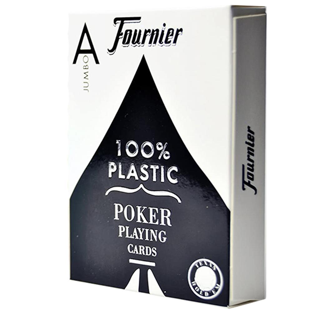 Baralho Fournier Poker 2800 plástico Index Jumbo (profissional) Preto.