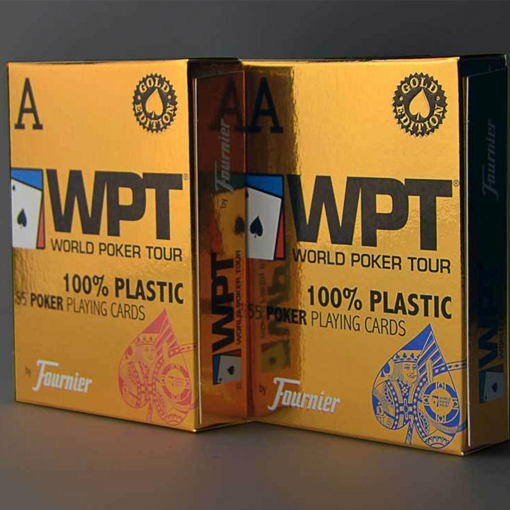 Baralho Fournier WPT Dourado Edition 100% Plástico Azul E Vermelho (PAR)
