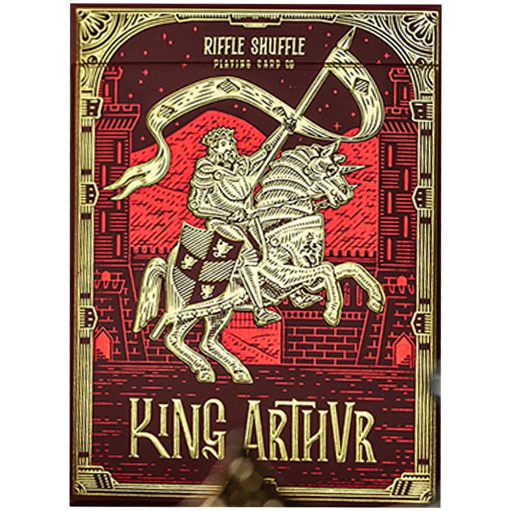 Caixa de Presente com Par de baralho Rei Arthur Verde/Vermelho