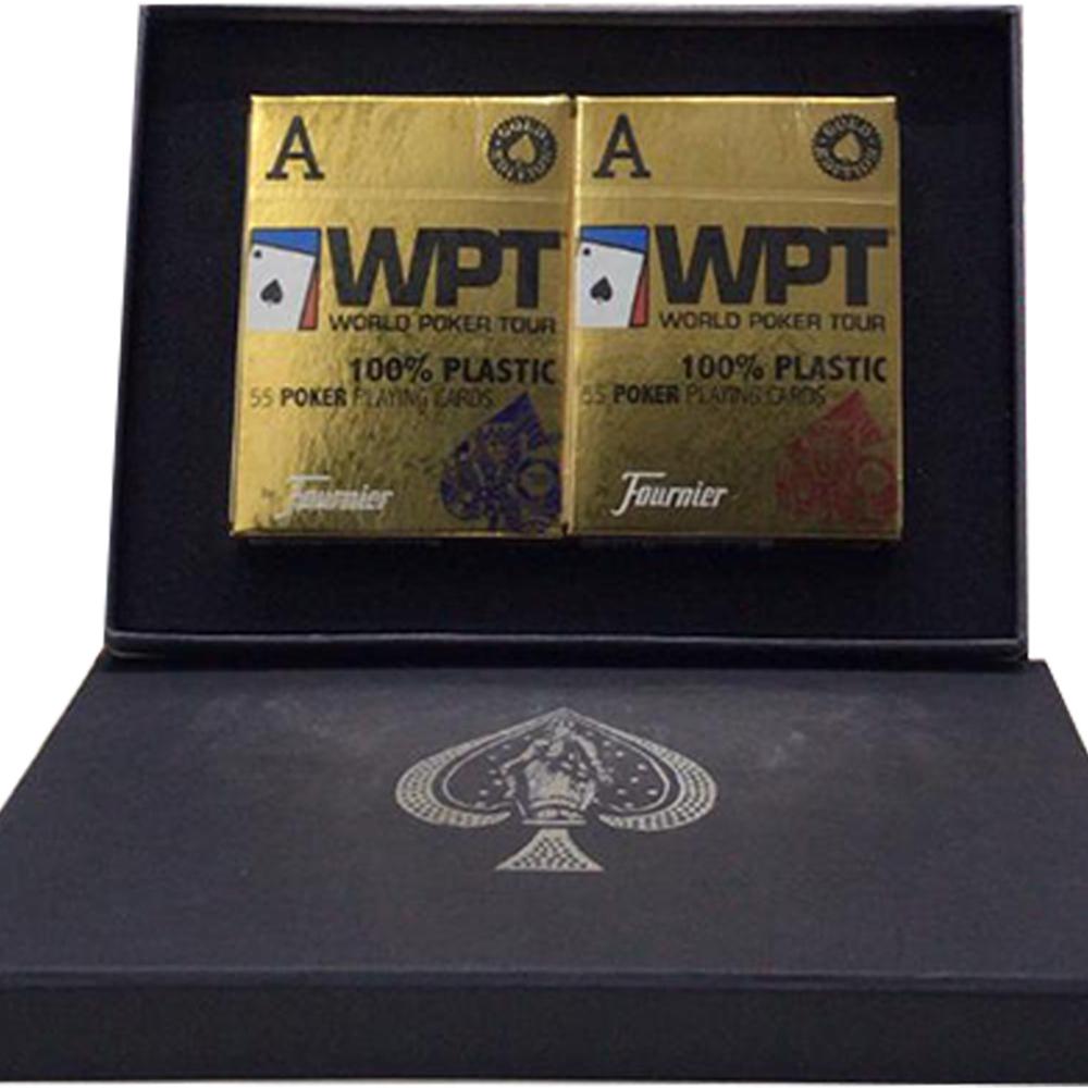 Caixa de Presente com Par de baralho WPT Vermelho/Azul
