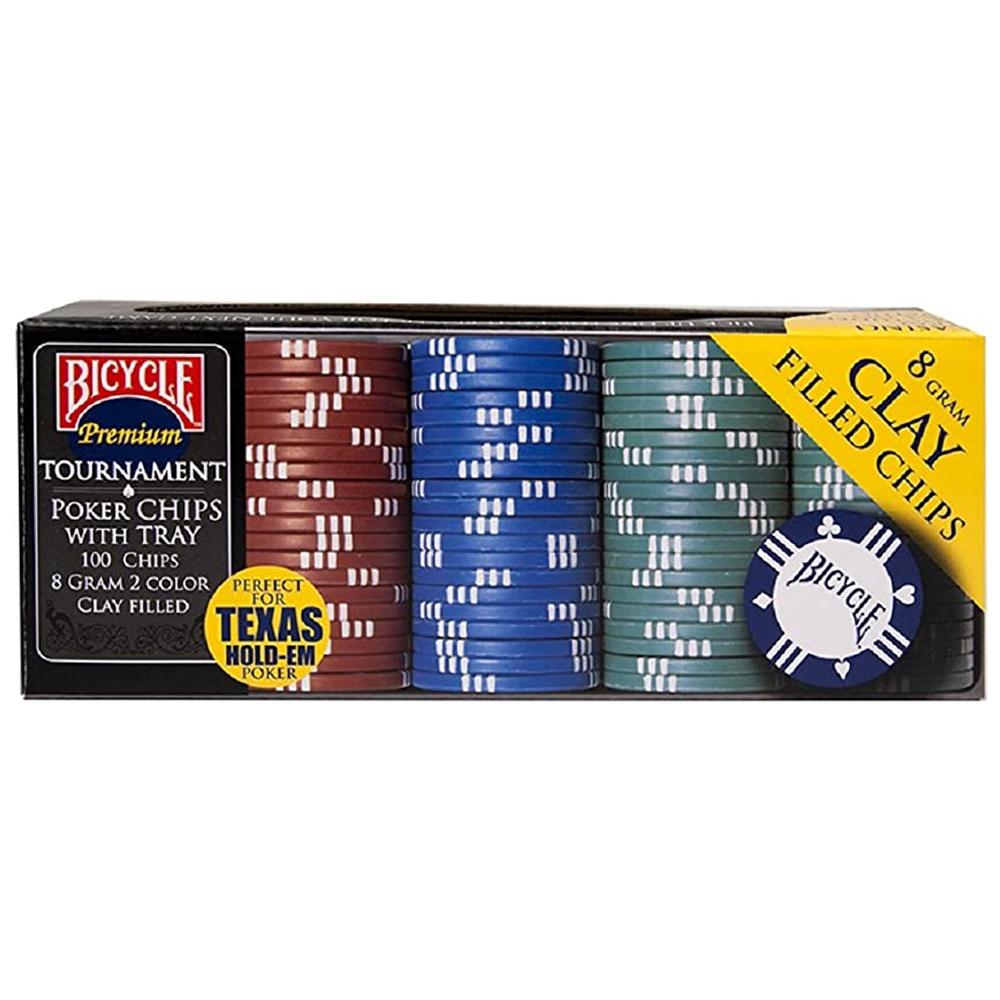 Fichas de pôquer 8 gramas Premium Bicycle com bandeja