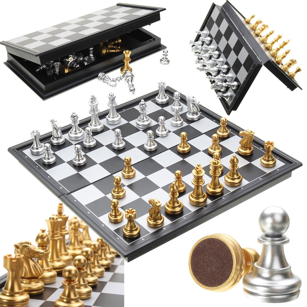 Jogo de Xadrez C/Imã Dourado/Prata
