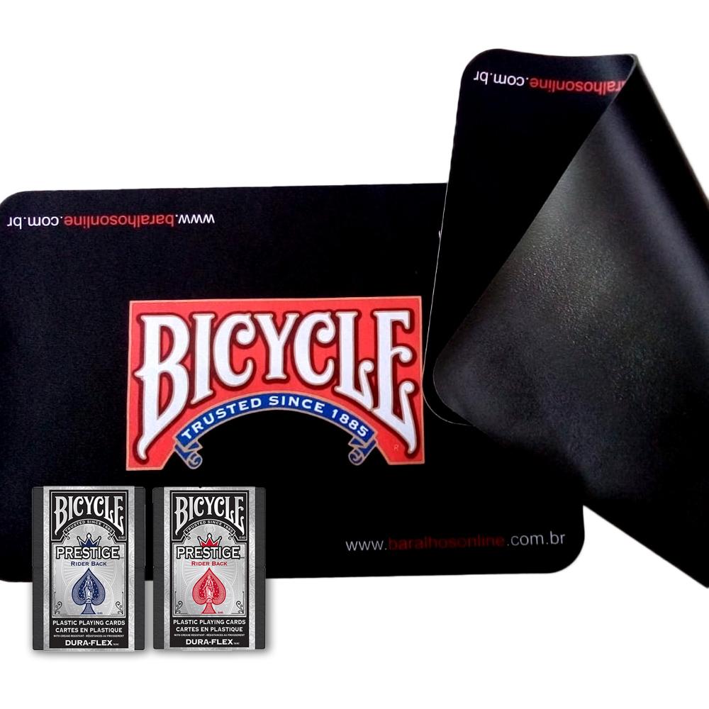 Kit Baralho Prestige Az-Vm E Tapete de Mesa p/Cartas Bicycle