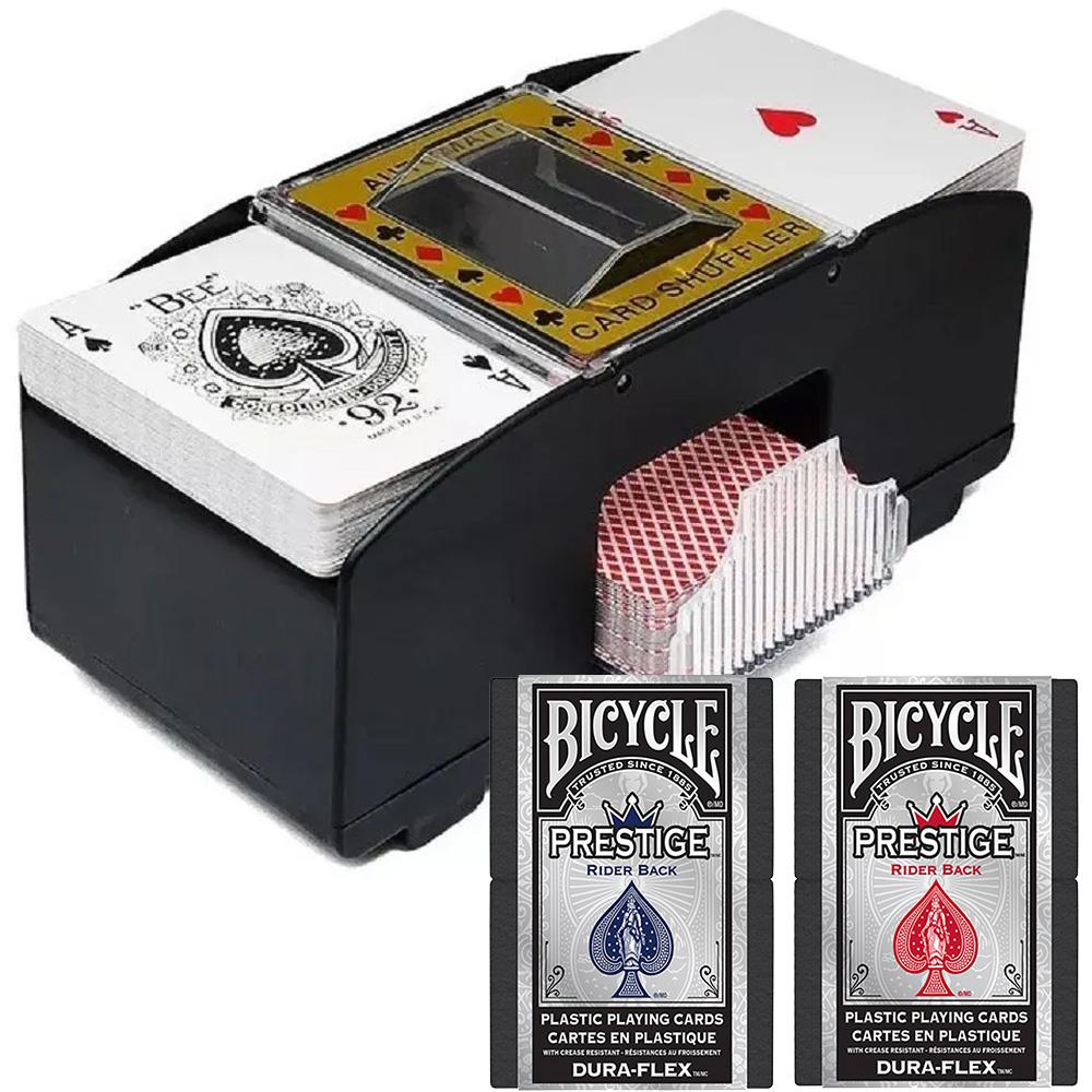 Kit Embaralhador de Baralho com Par de Bicycle Prestige