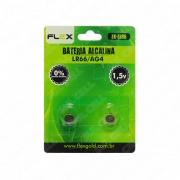 Bateria Alcalina LR66 AG4 1.5v Flex - Cartela c/ 2 Pilhas (FX-LR06)