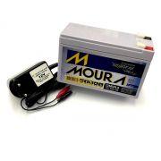 Bateria Moura 12v 9ah com Carregador 12v 800mah