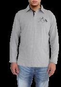 ccc098558d Camisa polo masculina azul marinho com detalhes em vermelho com ...
