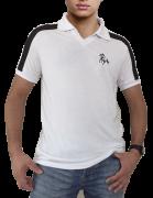 53c77fba5f Camisa polo branca com detalhes em preto com bordado cavalo galopando