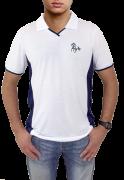 c677604538 Camisa polo branca com detalhes azul marinho com bordado cavalo galopando