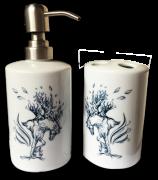 Kit Toalete Banheiro Em Porcelana Com Cavalo árvore
