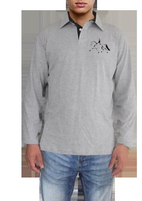 b29efcd79 Camisa polo manga comprida cinza mescla com bordado cavalo