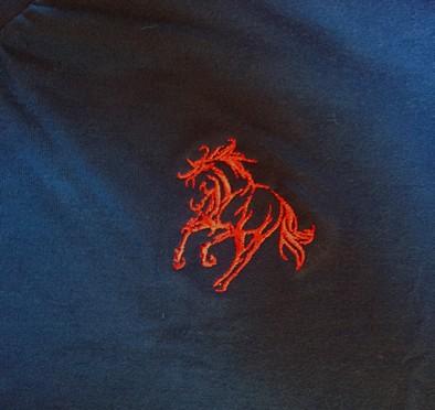 50b91c9e6a ... Camisa polo azul com detalhes em vermelho com bordado cavalo galopando  - Mania de viver ...