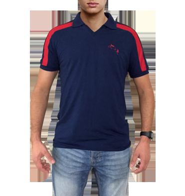 78f8052fdc Camisa polo tamanho M azul marinho com detalhes em vermelho com bordado  cavalo saltando - Mania ...