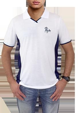 d49676ac7 Camisa polo branca com detalhes azul marinho com bordado cavalo galopando