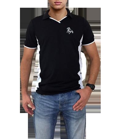 13fdd20d8e2a2 Camisa polo tamanho P preta com detalhes em branco com bordado cavalo  galopando - Mania de ...