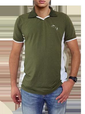 Camisa polo verde musgo com detalhe em branco com bordado cavalo saltando -  Mania de viver ... d0534df0cb090