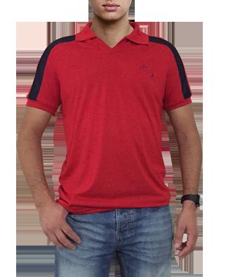 708caaa21e Camisa polo vermelha a com detalhes em azul com bordado cavalo saltando -  Mania de viver ...